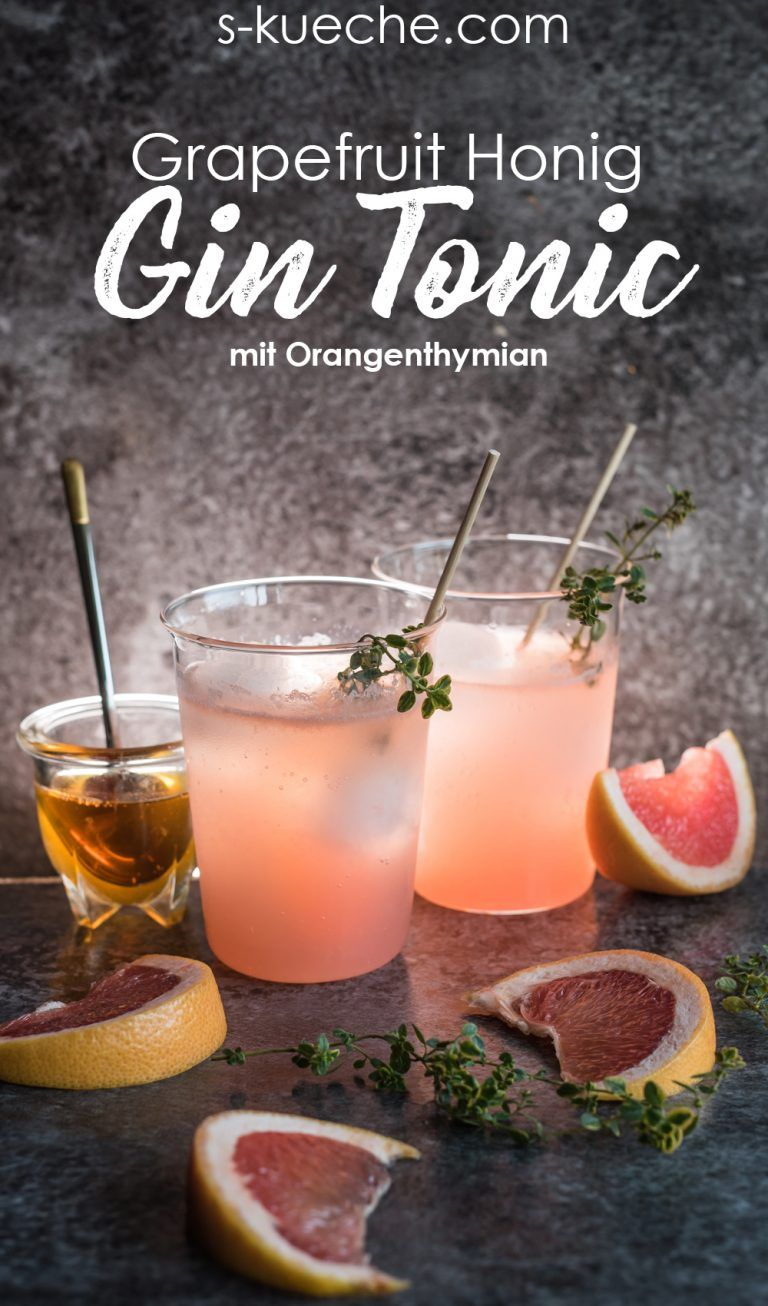 Frisch fruchtiger Grapefruit Honig Gin Tonic Cocktail #drinks