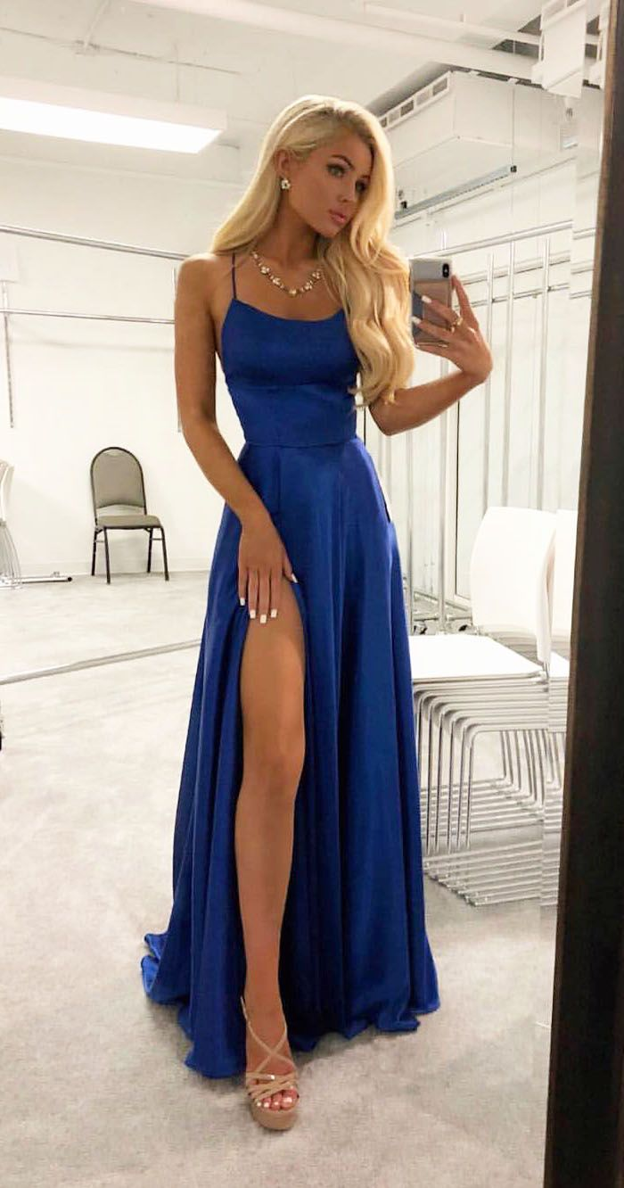A line high slit spaghetti straps backless royal blue long prom