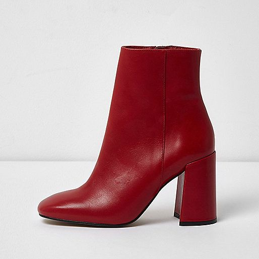 various styles watch superior quality Red leather block heel ankle boots - Boots - Shoes & Boots - women ...