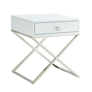 Square Lacquer X Legs End Table Accent Table Nightstand With