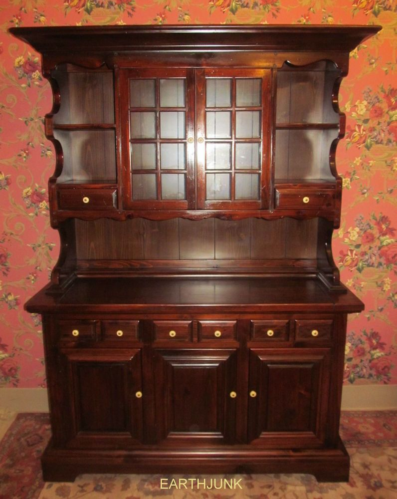 Kling Colonial Antiqued Tavern Country Hearth Pine China Cabinet Hutch 32 6009 Dining Room