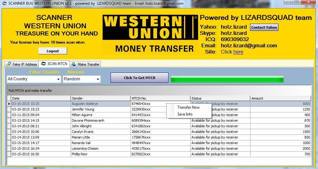 Clean western Union transfers  MTCN guaranteed  MTCN