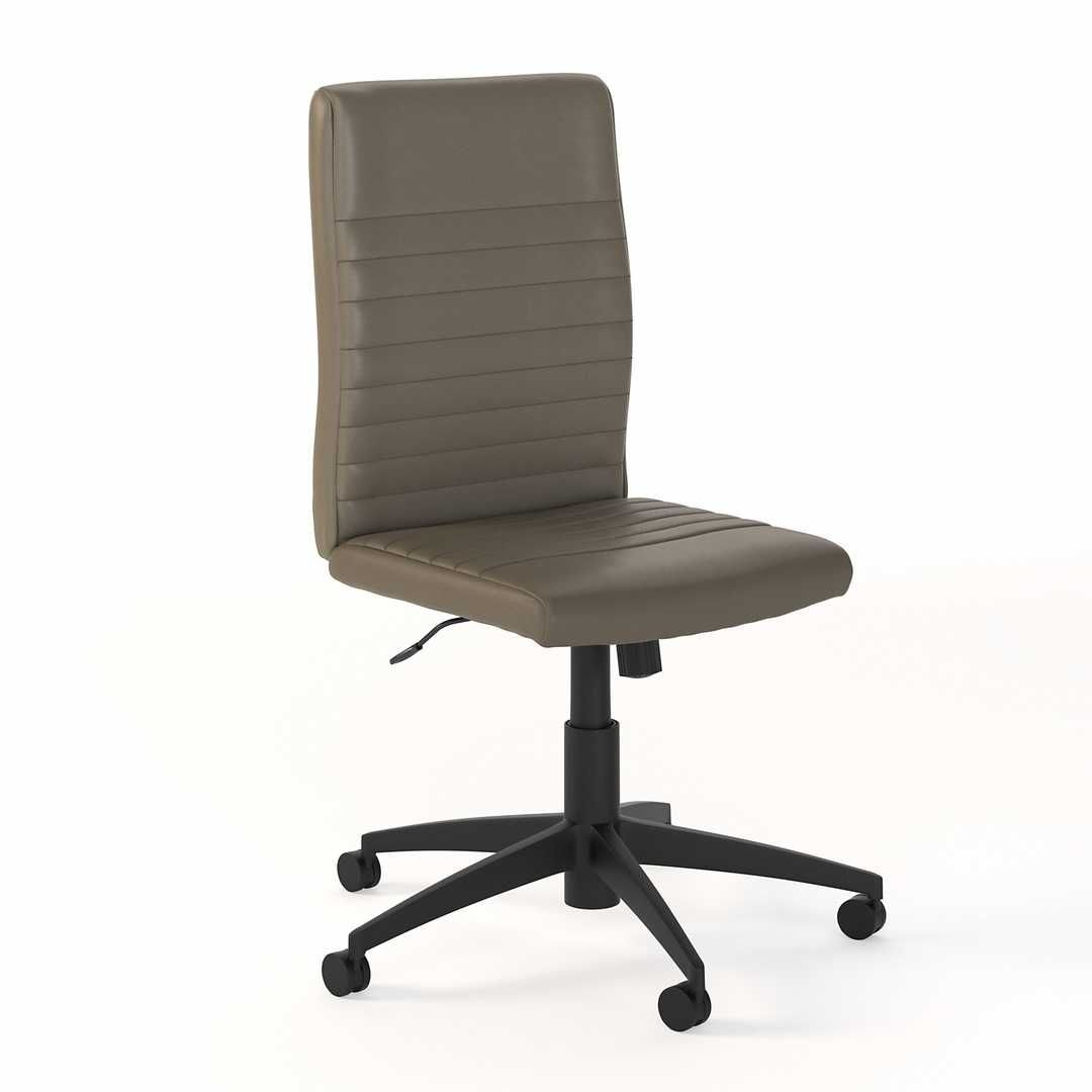 Mid Back Ribbed Leather Office Chair - Washed Gray Leather / Unique / Various