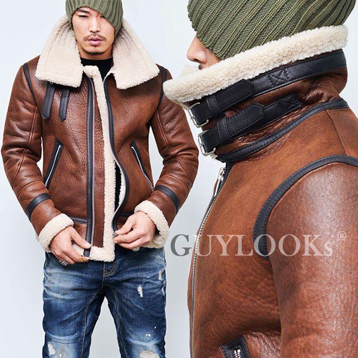 709d30f4b Details about Designer Mens Highneck Belt Faux Leather Shearling ...