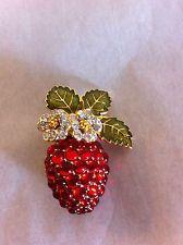 joan rivers crystal cascade flower pin | ... Jay Lane KJL Strawberry Pin Brooch Crystal and Enamel FREE SHIP