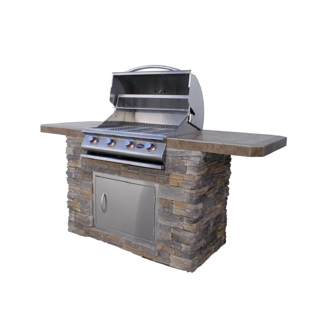 Cal Flame Bistro 470 7 Ft Natural Stone Bbq Island With 4 Burner Grill B470 The Home Depot Stone Bbq Outdoor Kitchen Bbq Island