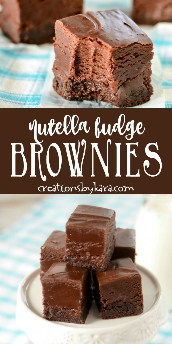 Brownies with a creamy layer of nutella fudge - Chocoholics will love every bite of these nutella f