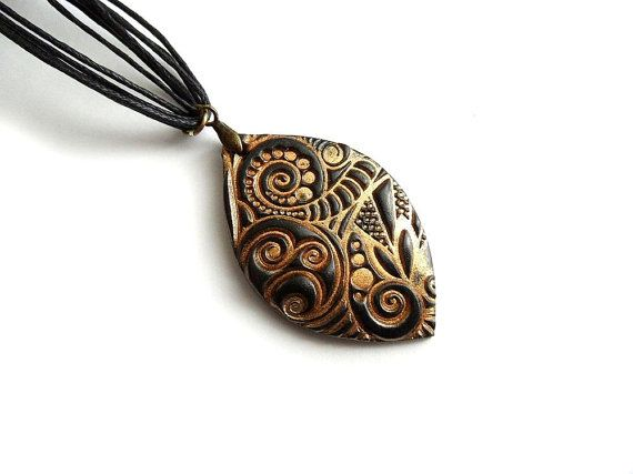 Gold black necklace zentangle inspired polymer clay jewelry boho