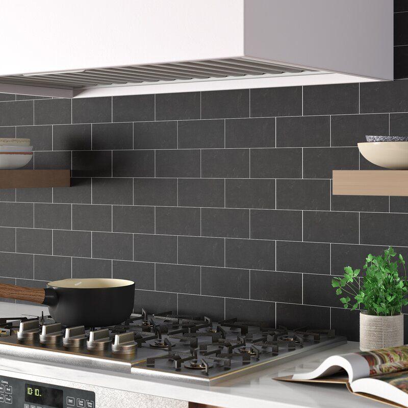 Montauk 3x6 Slate Style Subway Tile Modern Backsplash Floor And Wall Tile Black Subway Tiles