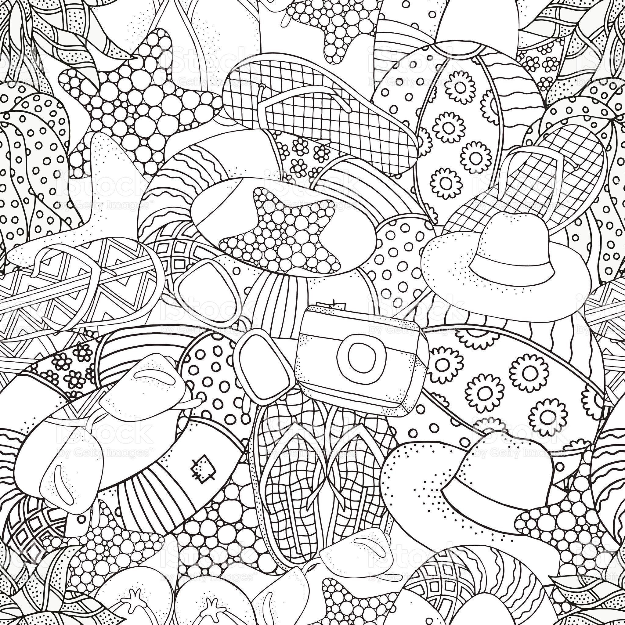 Seamless pattern with Starfish, lifebuoy, sunglasses, ball ...