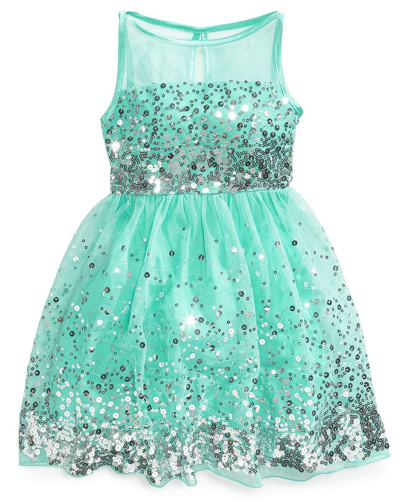 Crystal Doll Sequin Illusion Dress, Big Girls | Illusion dress, Kids ...