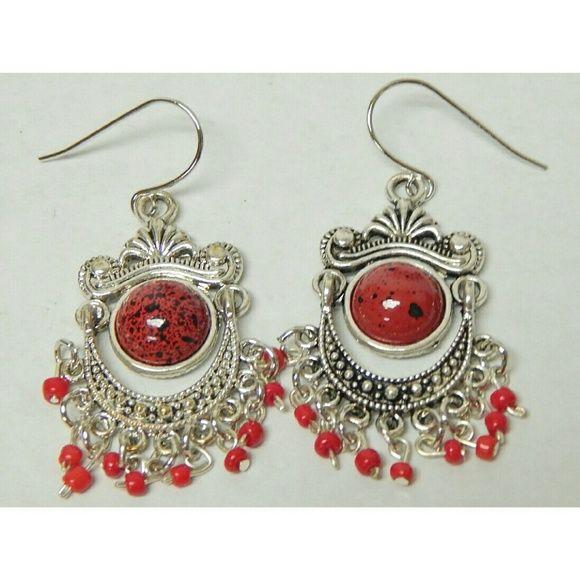 New Red Boho Earrings Red bohemian style earrings  --No trades or paypal Nepantla Shop Jewelry Earrings