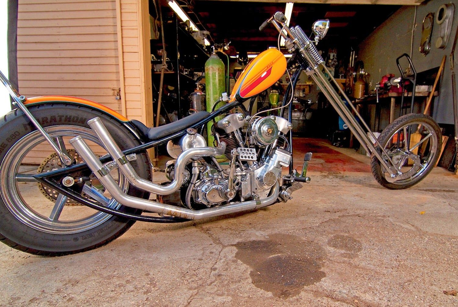 Stretch knucklehead chopper with a Sugar Bear front end and