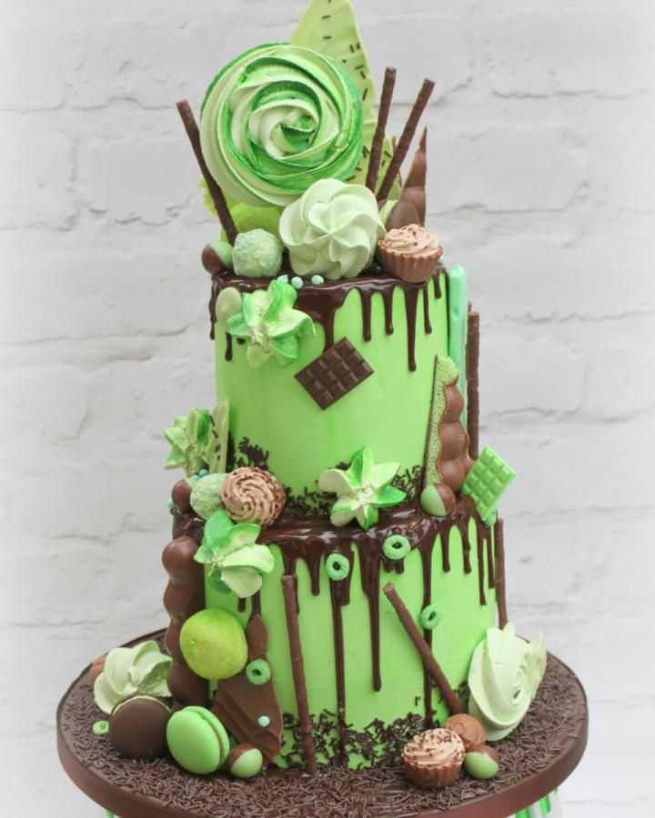 Excellent A Mint And Chocolate Drip Cake By Lynette Brandl Chocolate Drip Birthday Cards Printable Opercafe Filternl