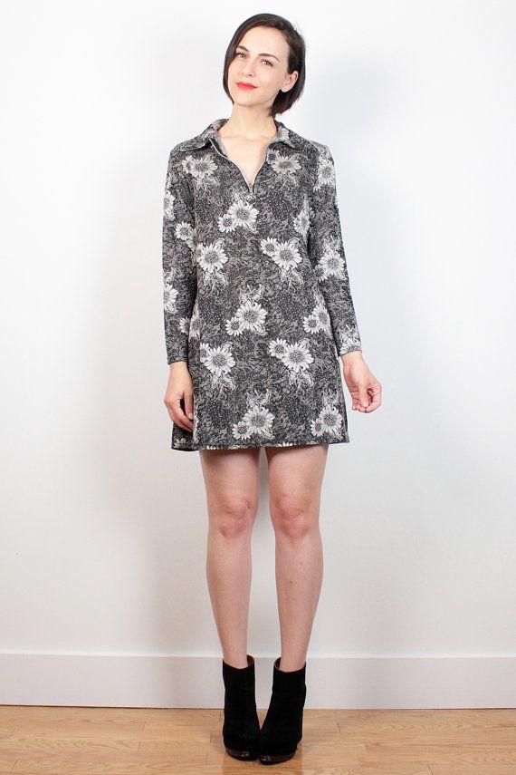 71881e5241f Vintage 90s Dress Sunflower Dress Black White Daisy Print Skater Dress 1990s  Does 1960s Dress Mod