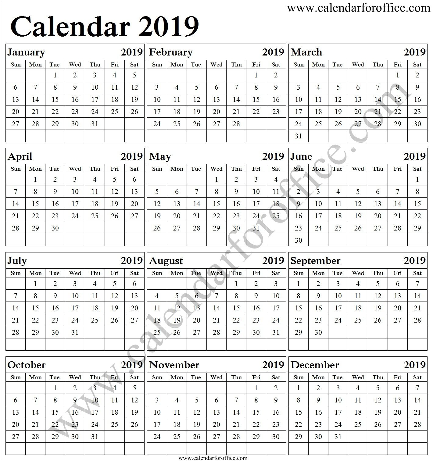 Daily Sheet Calendar 2019 Printable Template