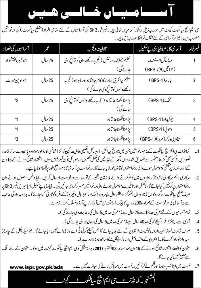 Combined Military Hospital Jobs  In Sialkot For Medical
