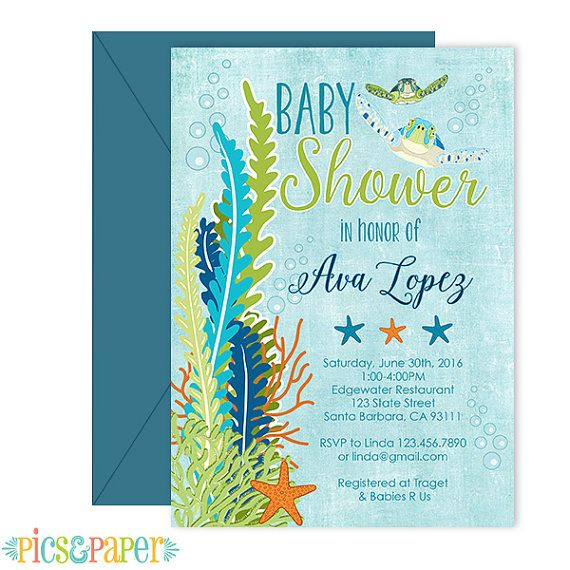 ocean theme baby shower invitation sea turtle blue by picsandpaper, Baby shower invitations