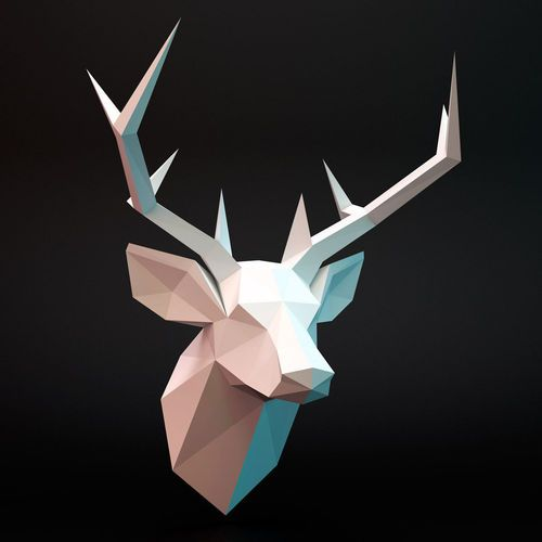 Download deer head low-poly free 3D model or browse 6345