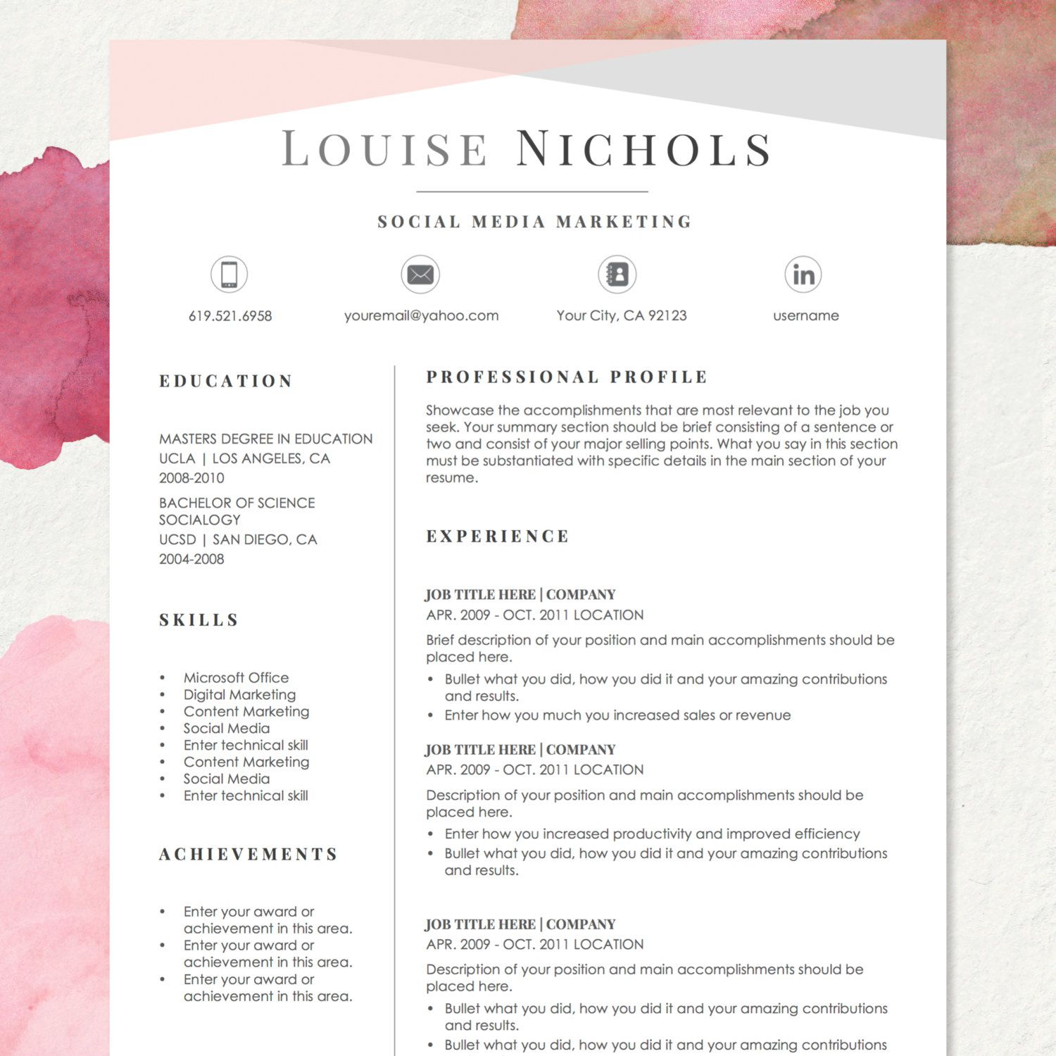 Resume Template For Ms Word Louise 1 2 Page Resume Etsy Downloadable Resume Template Cover Letter For Resume Resume Template