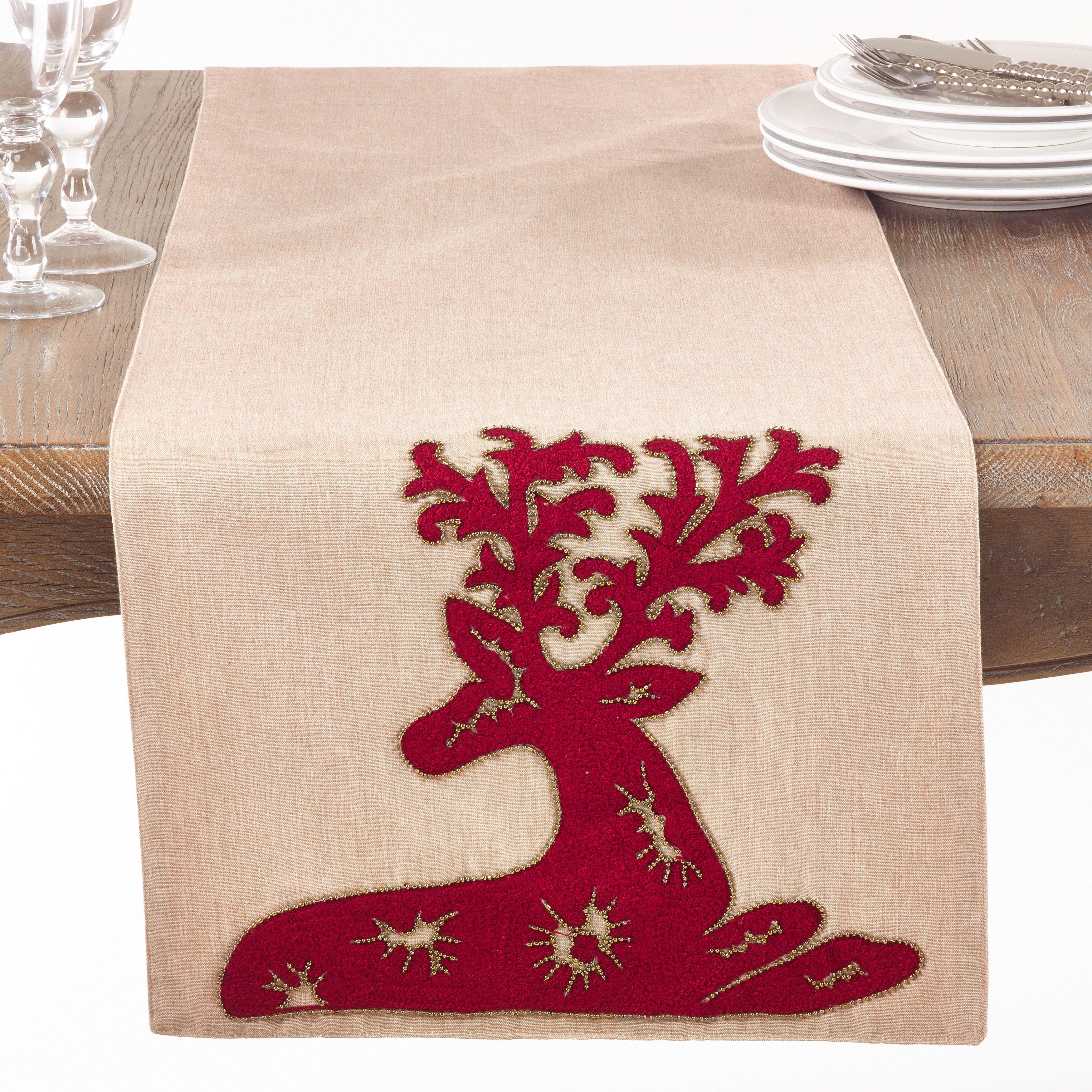 Saro Embroide Deer Table Runner