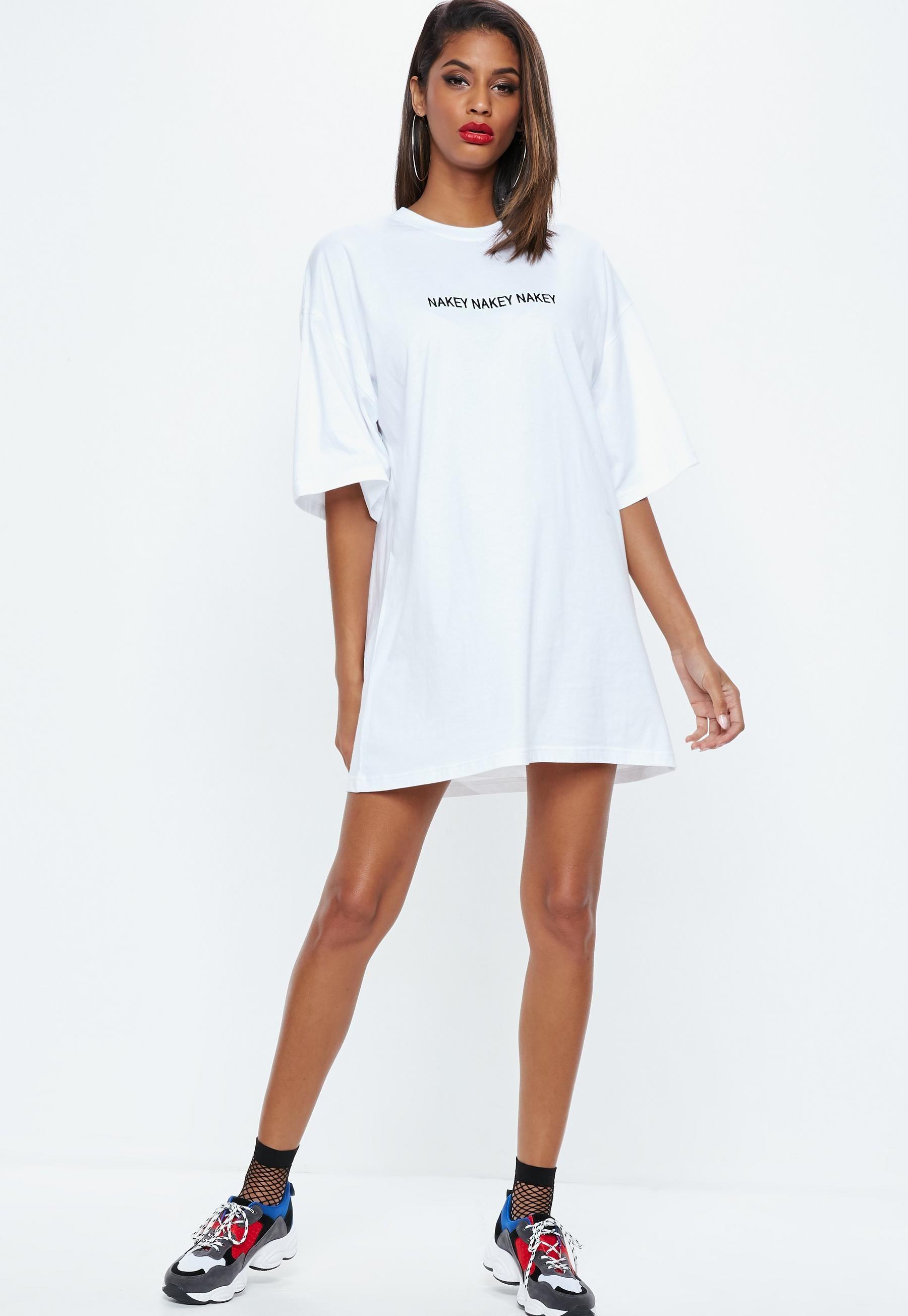 9e399370537 White Nakey Nakey Nakey Slogan Oversized T Shirt Dress
