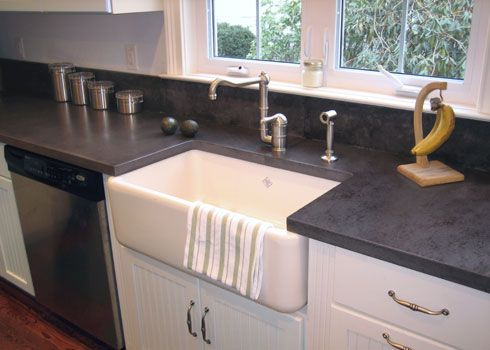 Concrete Countertops And Backsplash With A Farmhouse Sink Chris