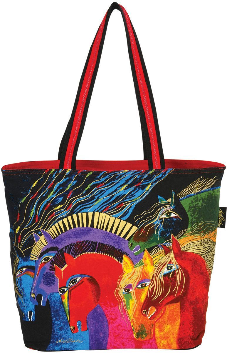 Shoulder Tote Zipper Top Wild Horses Of Fire #zippertop