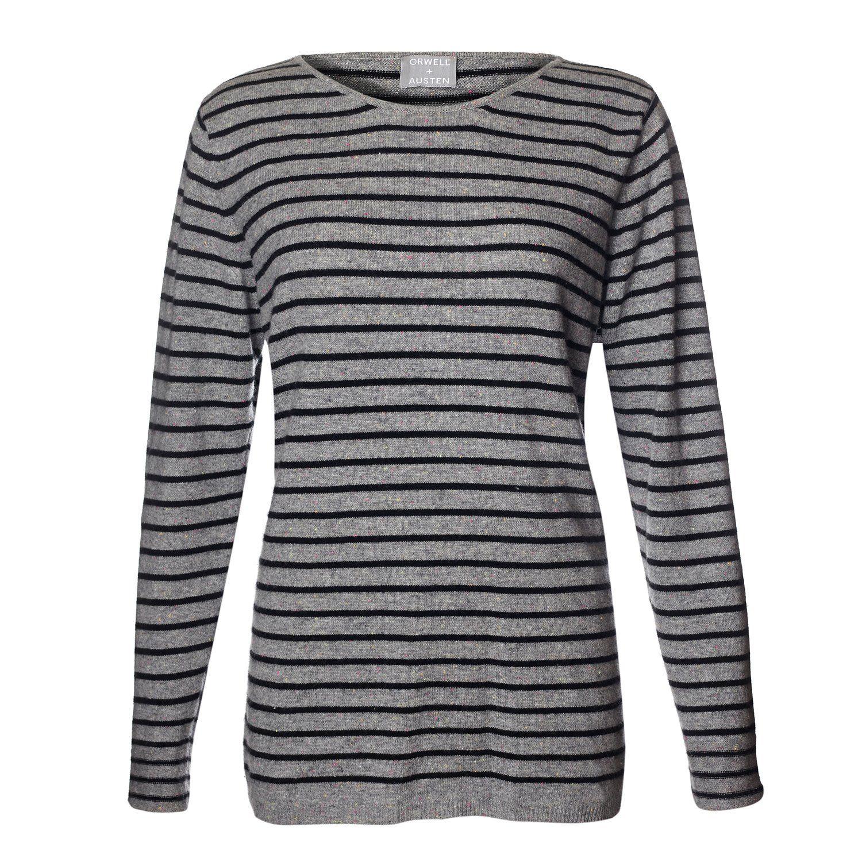 Breton Stripe Cashmere Sweater Grey & Black | Breton stripes ...