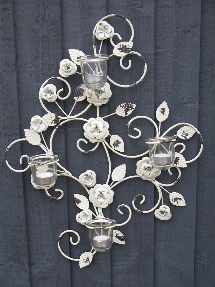 Flower Design Metal Wall Art Sconce T Light Glass Candle Holder Decor Decorating Glass Candle Holders Glass Candle Holders Flower Wall