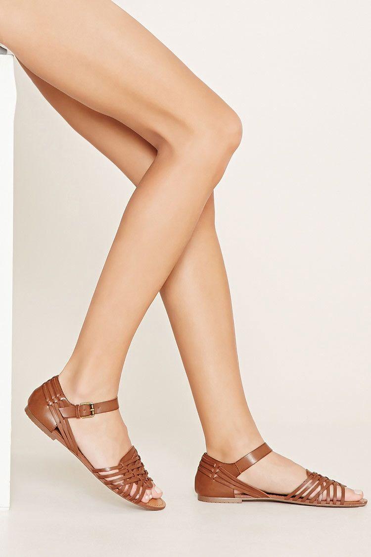 f79bb6d43 Cutout Faux Leather Sandals