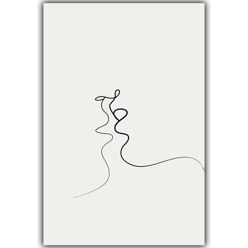 Gray White Urban Contemporary Modern Minimalism High Tech: Picasso Simple Line Curve Black White Abstract Painting