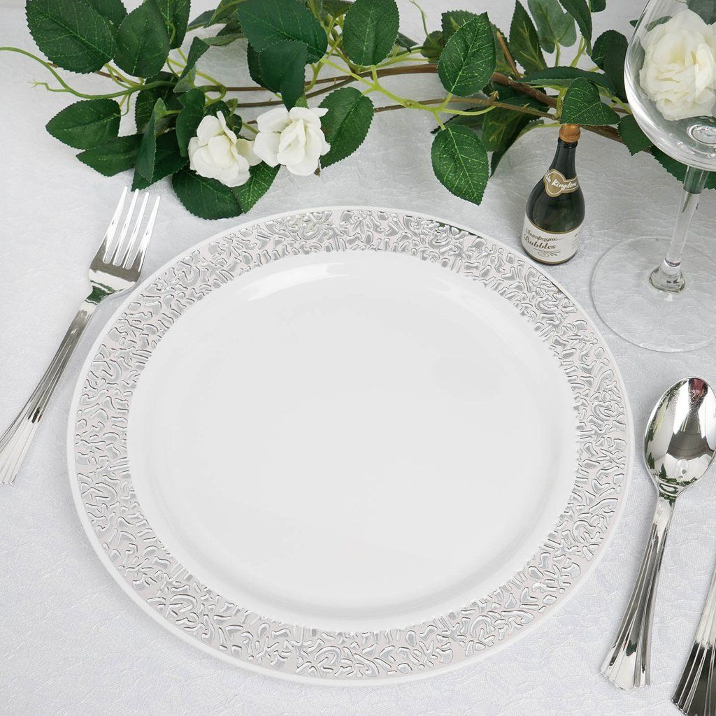 10 Pack 10 White Round Disposable Plastic Dinner Plates With Silver Lace Design Rim In 2020 Plastic Party Plates Disposable Plates Silver Lace