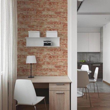 Stuccoed Red Brick Peel And Stick Wallpaper Peel And Stick Wallpaper Removable Brick Wallpaper Room Visualizer
