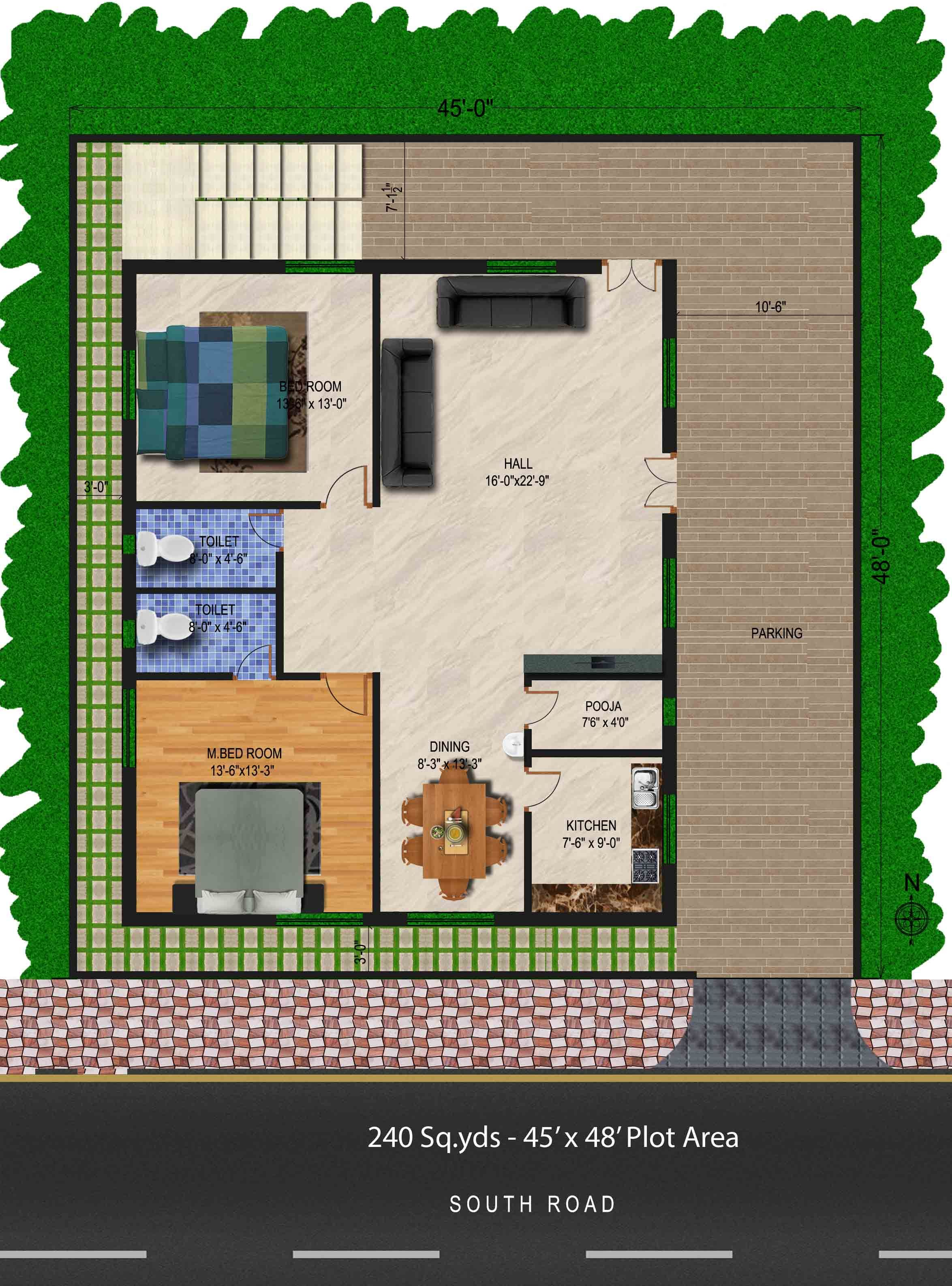 240 Sq Yds 45x48 Sq Ft South Face House 2bhk Floor Plan