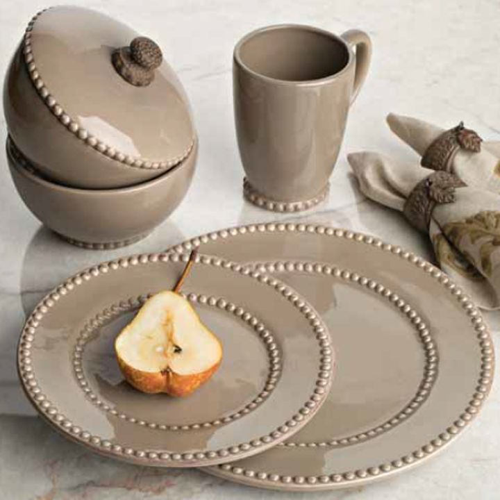 Livingstone Dinnerware Collection in Taupe by The GG Collection & Livingstone Dinnerware Collection in Taupe by The GG Collection ...