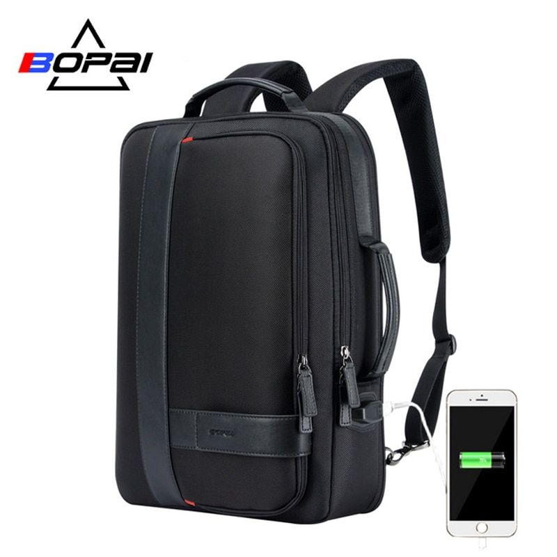 35b4d88a97 BOPAI Brand Enlarge Backpack USB External Charge 15.6 Inch Laptop Backpack  Shoulders Men Anti-theft Waterproof Travel Backpack Review