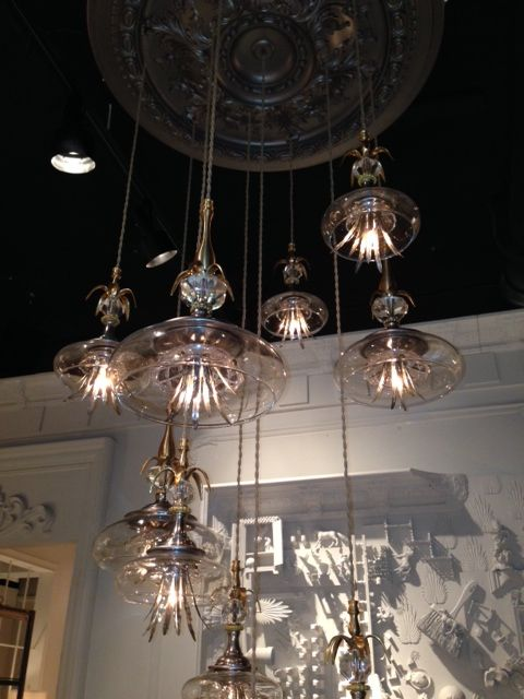 Punette Pendant light fixtures from S Rothrock Designs. These gorgeous jellyfish like pendants are hand assembled and painted with different metal tones. #scottsmarketplace