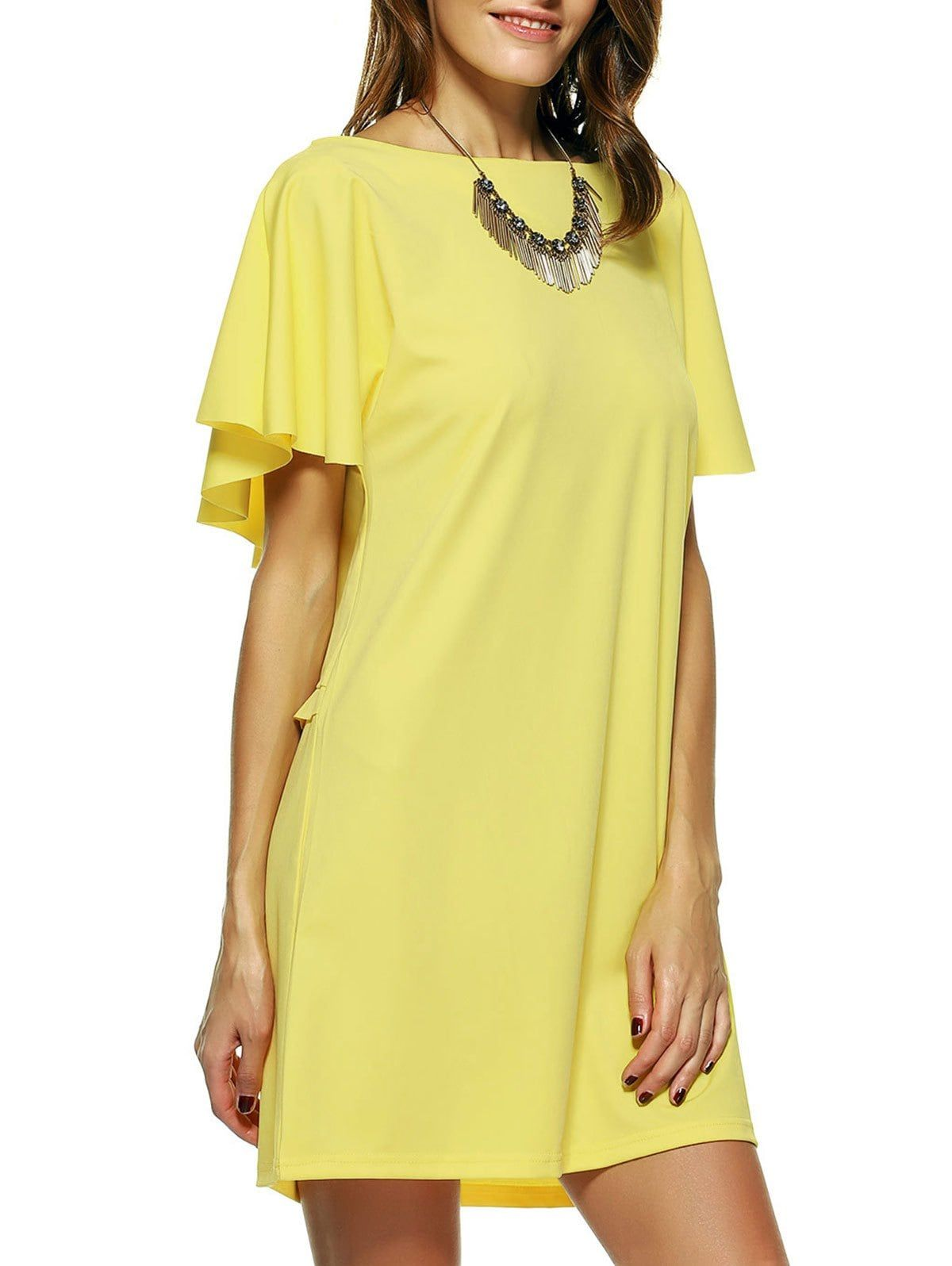 Bright Color Flouncing Backless Dress #shortbacklessdress