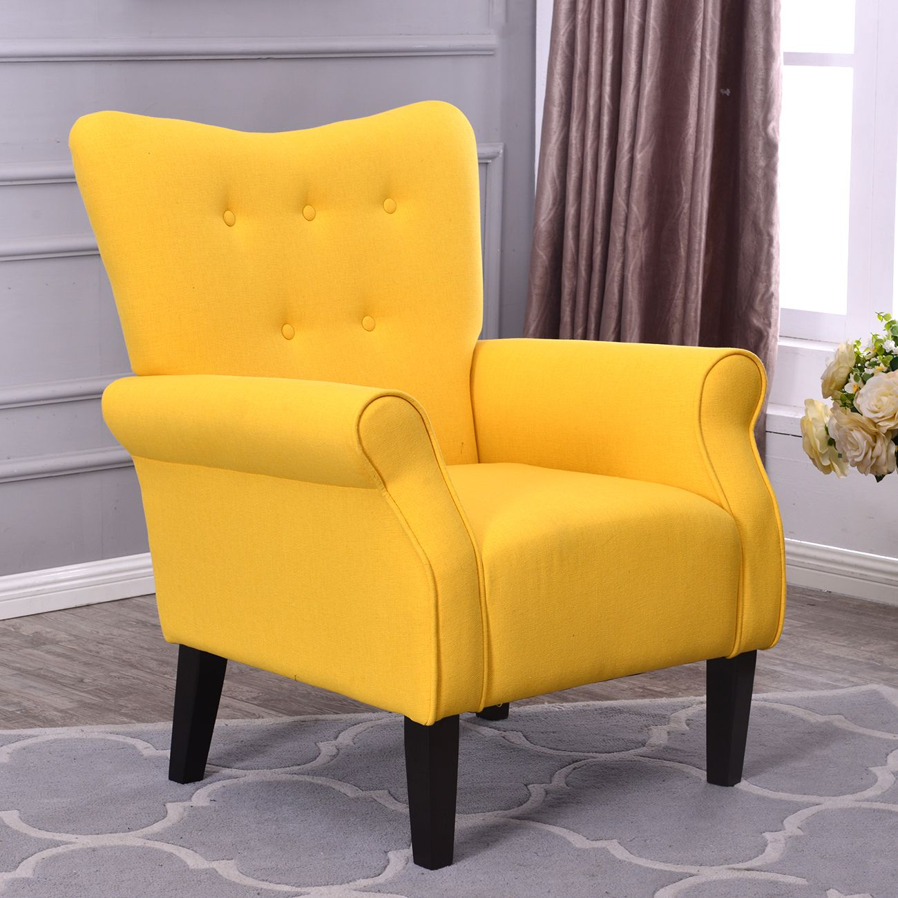 Citric Yellow Accent Arm Chair Decor26 With Images Yellow