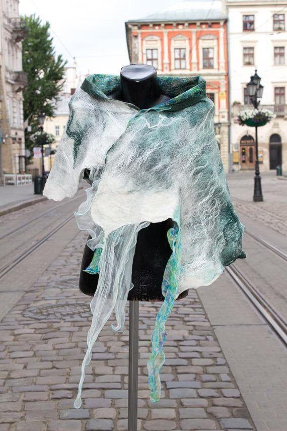 Turquoise silk scarf Merino wool shawl,  Autumn silk wrap, nuno felt scarf, artistic scarf