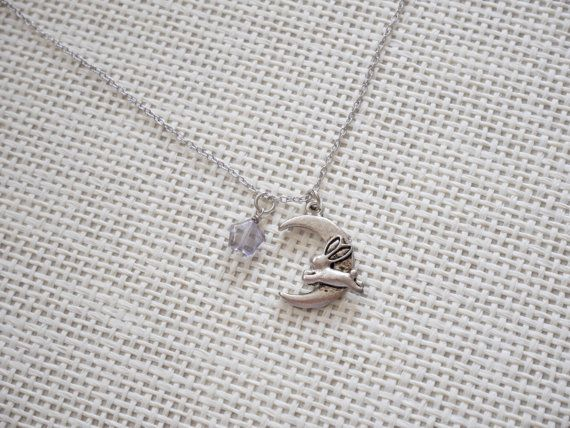 Rabbit hopping to the Moon Silverplated Necklace by earringsgirl