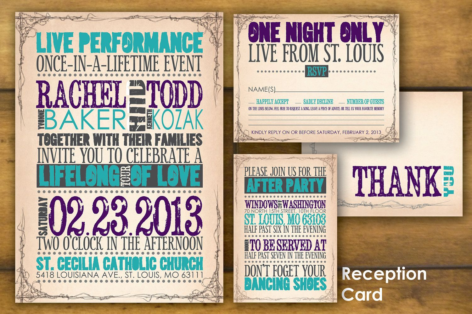 Printable, Concert Poster Wedding Invitation And Reply