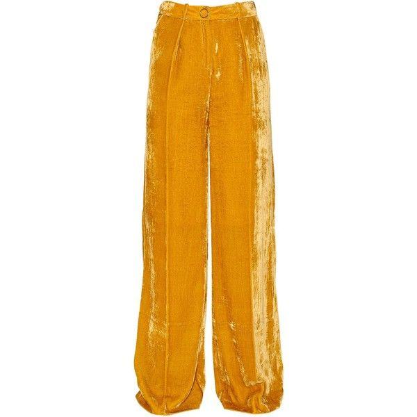 Mugler Women Velvet Wide Pants ($1,150) ❤ liked on Polyvore featuring pants, thierry mugler, wide-leg pants, wide-leg trousers, wide leg trousers and velvet pants