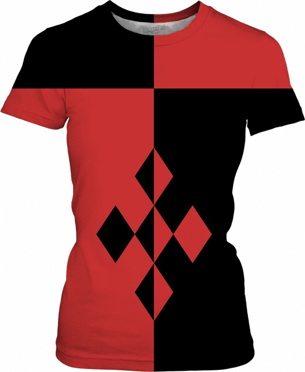 0f1af611 Red and black geometric theme woman tee shirt, Harley Quinn style clothing,  cosplay apparel, Joker's girl - for more art and design be sure to visit ...
