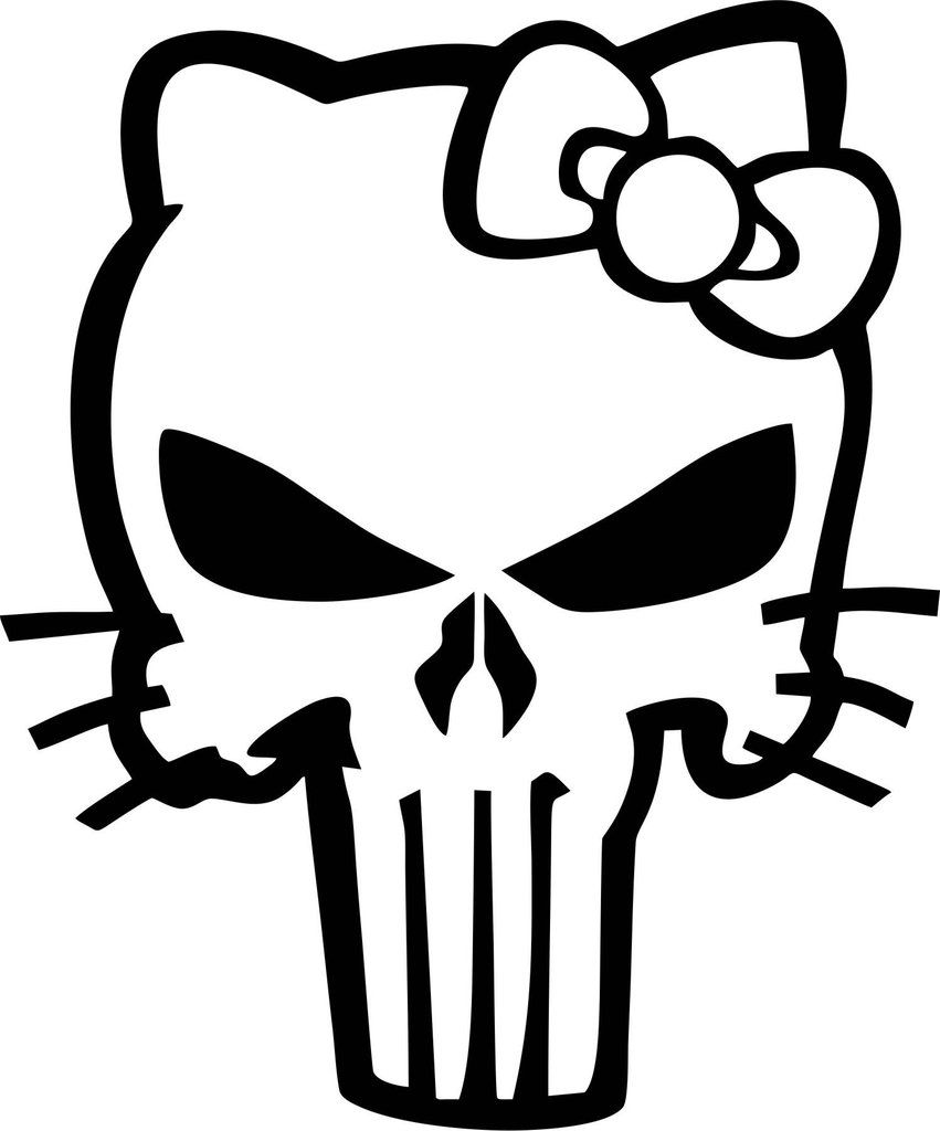 Punisher Kitty Vinyl Decal Punisher Kitty And Custom Vinyl - Hello kitty custom vinyl decals for car