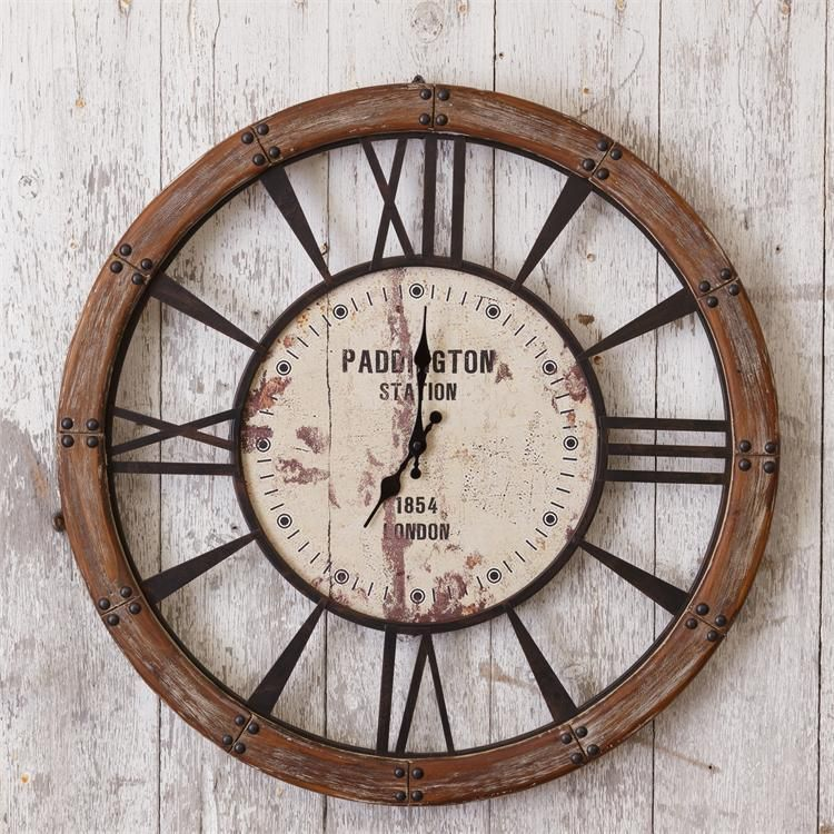"""New Rustic French Country Chic 28"""" PADDINGTON STATION LONDON CLOCK Wall Hanging  #Unbranded #Rustic"""