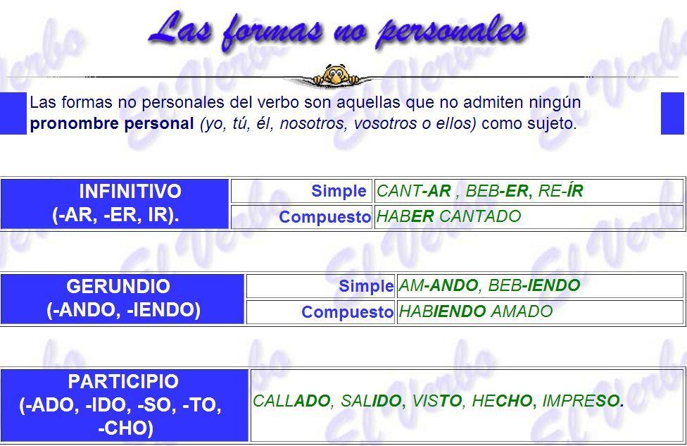Formas No Personales Del Verbo En 2021 Verbos Verbos En Espanol Lenguaje Español