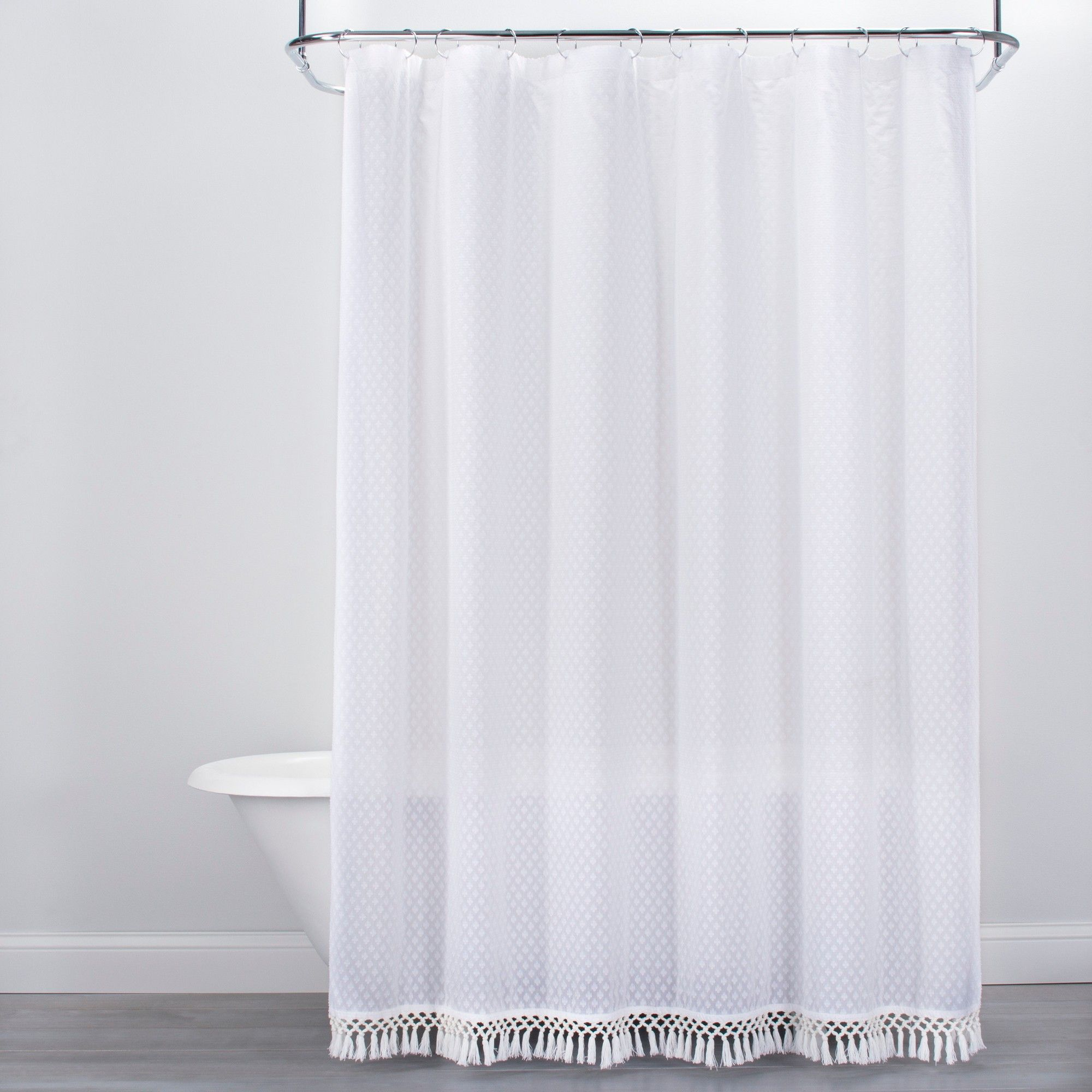 72 X72 Textured Dot Fringed Shower Curtain White Opalhouse