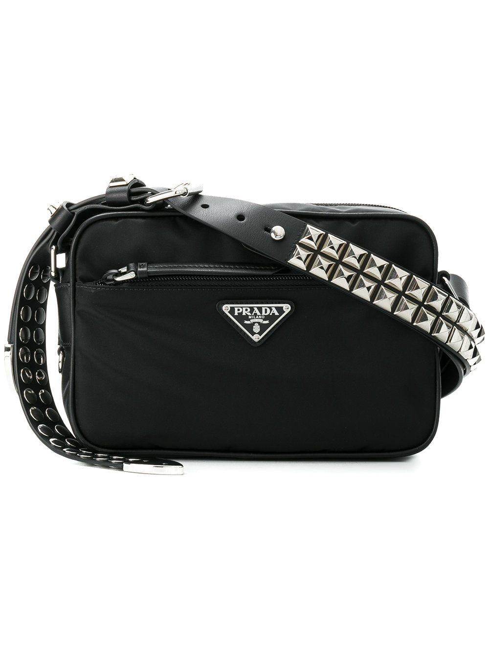 7aaaccb7fa3 Prada Black Studded Strap Textile Shoulder Bag in 2019 | Purses ...